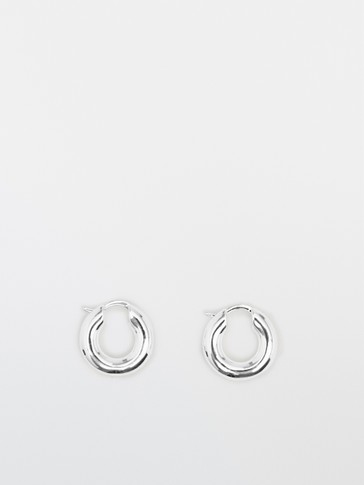Silver thick hoop earrings