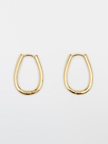 Gold-plated sterling silver oval earrings
