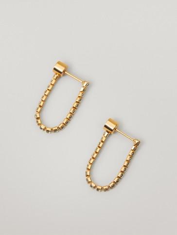 Gold-plated rhinestone earrings