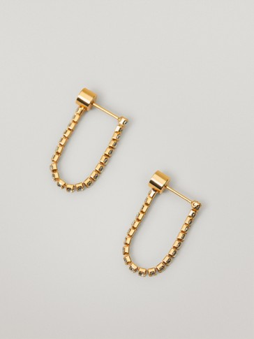 Gold-plated rhinestone earrings