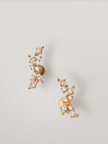 Gold-plated wrap earrings with zirconia