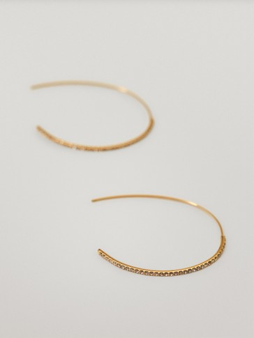 Gold-plated diamanté hoop earrings
