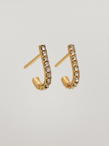 Gold-plated curved earrings