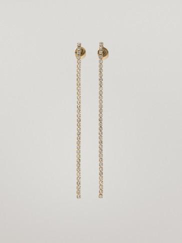 Long gold-plated diamanté earrings