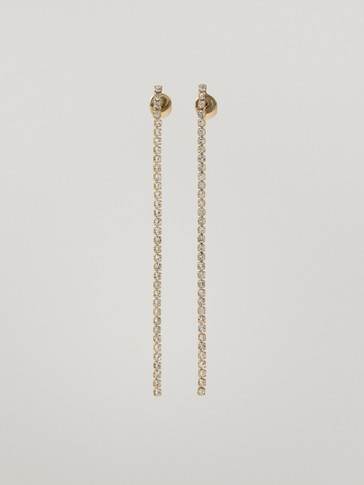 Long gold-plated diamanté earrings