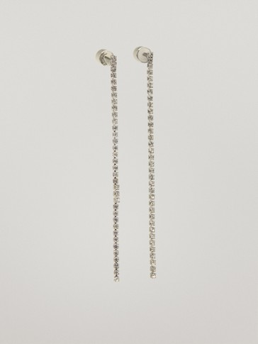 Silver diamanté dangle earrings