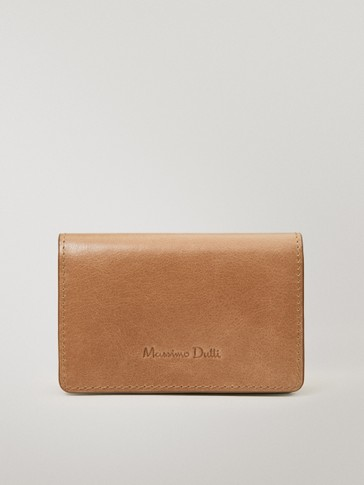 Leather purse with flap