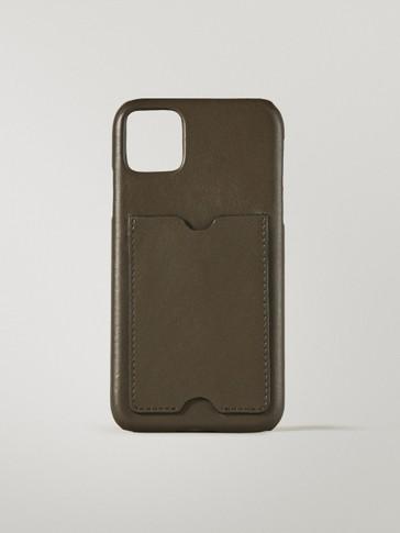 Handyhülle aus Leder für iPhone 11/XR mit Kartentasche