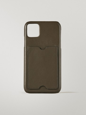 Кожен калъф за iPhone 11/XR с джоб за карти