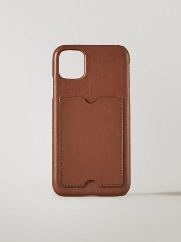 Funda iPhone 11 pro max piel con tarjetero