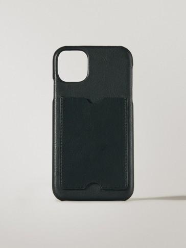 Ādas iPhone 11 Pro Max vāciņš ar kabatiņu kartēm