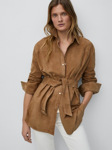 Belted suede overshirt