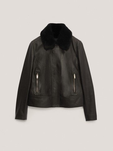 Black jacket with detachable mouton collar