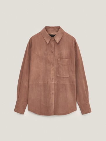 Suede shirt with pocket
