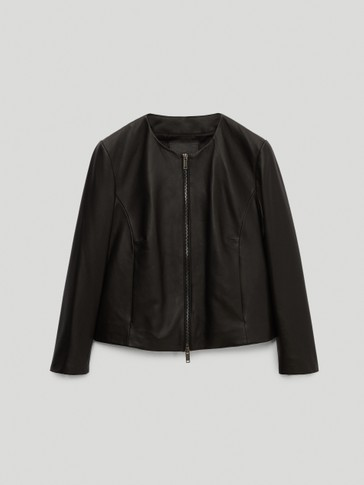 Black nappa leather jacket