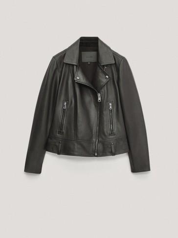 Blouson de style motard en cuir noir