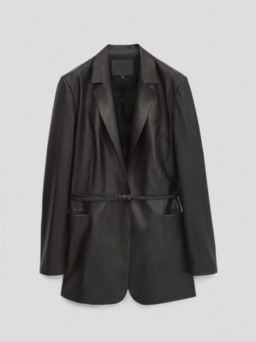 Black nappa leather belted blazer