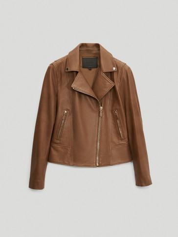Куртка в байкерском стиле из мягкой кожи наппа