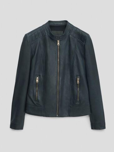 Темно-синяя куртка из мягкой кожи наппа