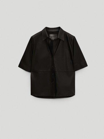 Black nappa leather short sleeve shirt