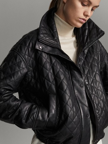 Black nappa leather quilted jacket