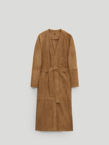 Long suede kimono jacket