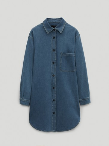 Overskjorte i cotton/denim
