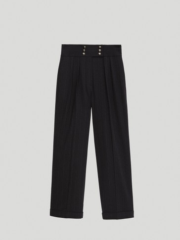 Navy blue striped straight fit trousers