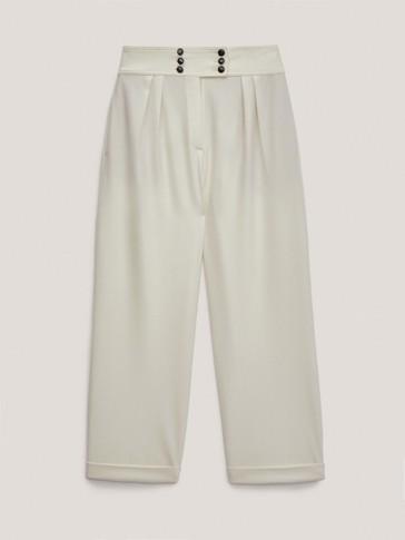Vunene hlače širokih nogavica