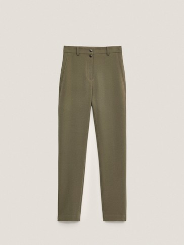 Mid-waist skinny-fit buttoned trousers