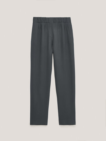 Crepe jogging fit trousers