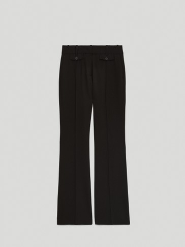 ASIAN FIT. Black bootcut trousers