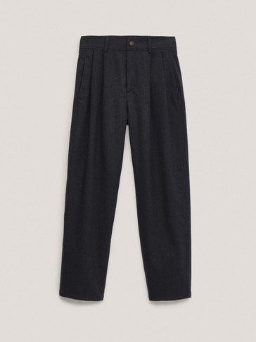 Barrel-fit cotton darted trousers
