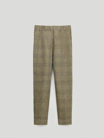 Straight-fit herringbone trousers