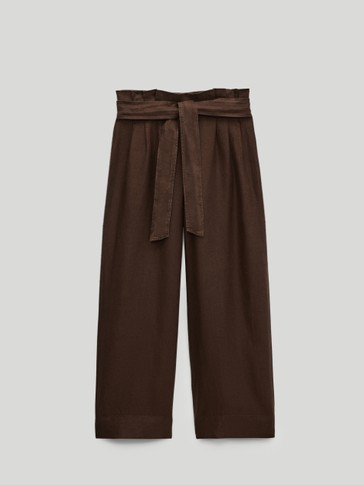 100% linen darted culottes