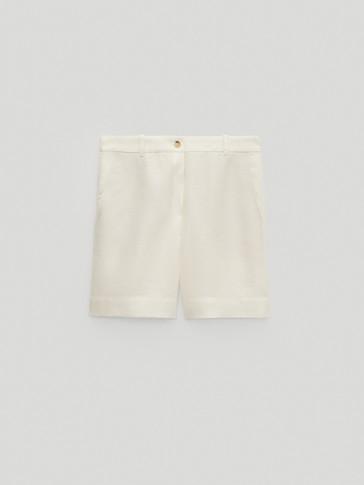 100% linen Bermuda shorts