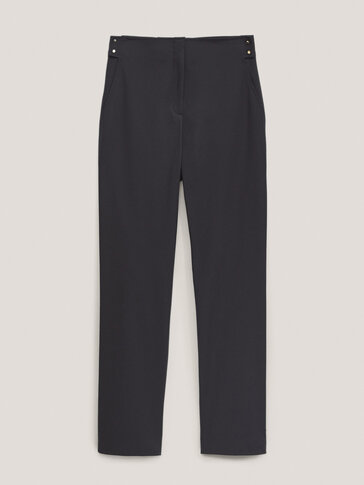 Straight trousers with golden buttons