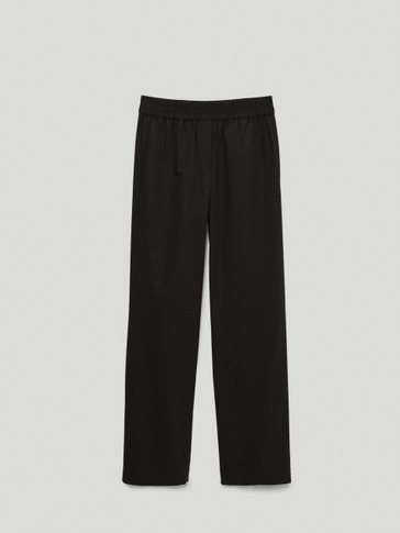 Black poplin jogging fit trousers