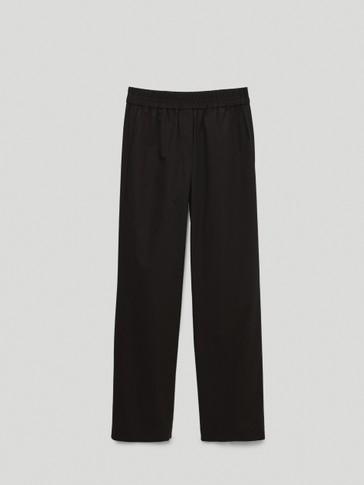 Black poplin jogging fit trousers