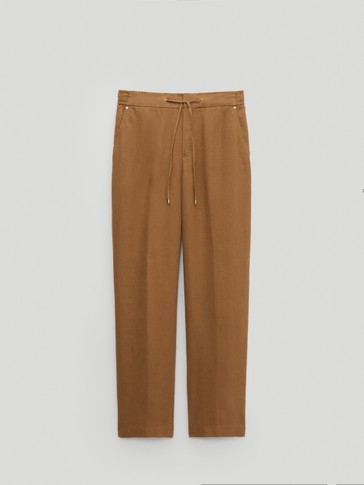 100% linen jogging fit trousers