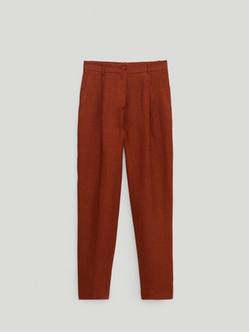 Straight fit 100% linen trousers