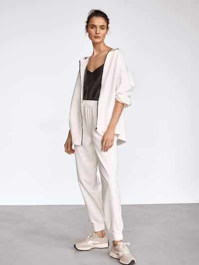 마시모두띠 Massimo Dutti Jogging fit trousers with elastic hems,CREAM