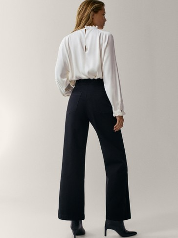 Wide-leg cotton trousers