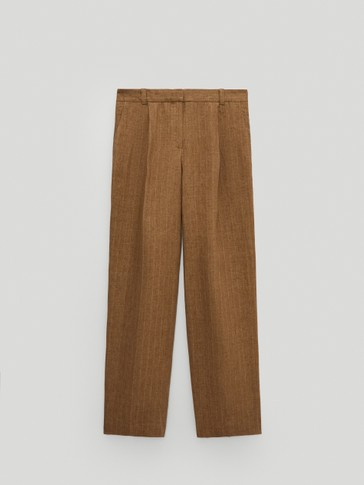 100% linen striped trousers
