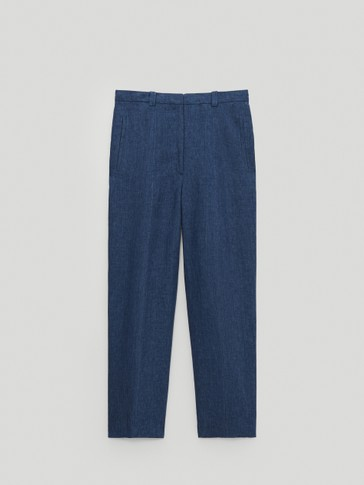 Faded linen trousers with rounded legs