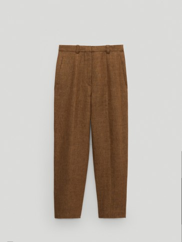 100% linen slouchy trousers