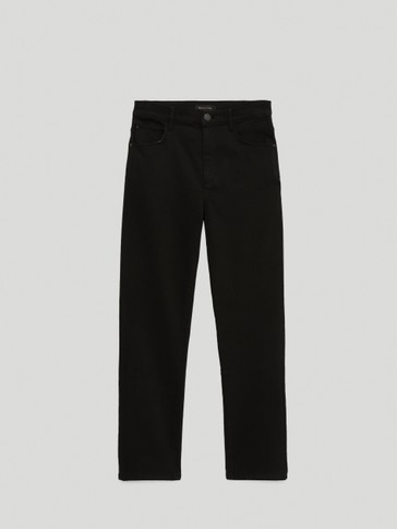 High-waist slim-fit trousers