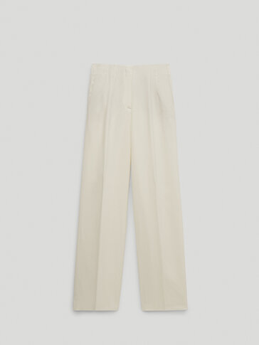 100% linen darted trousers
