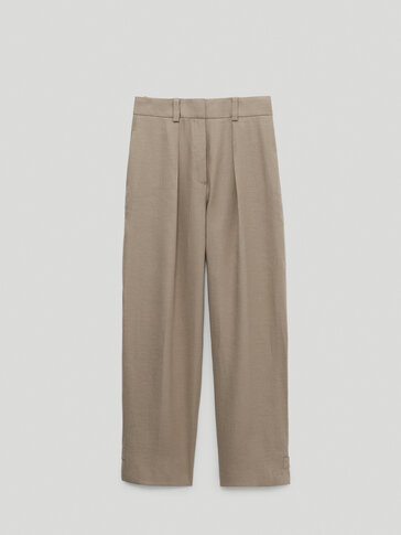 Trousers with straight hem detail
