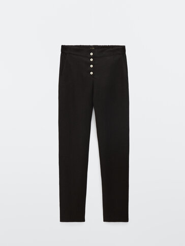 Flowing black linen lyocell trousers
